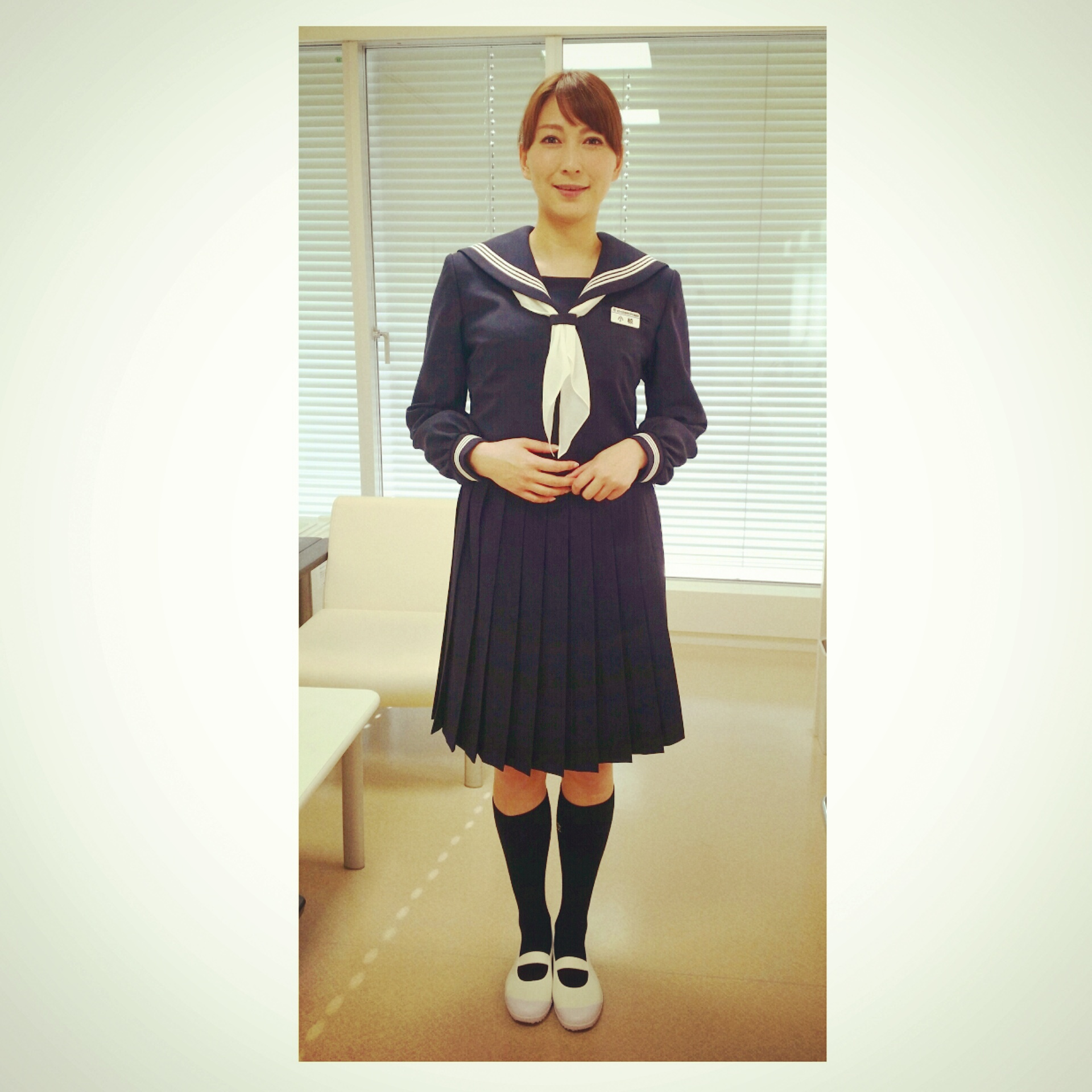 黒のハイソックスにセーラー服姿の可愛すぎる小椋久美子